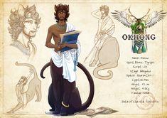 Masud - Egyptian black mau taur - Okhong #centaur #taurs #egyptian #mau #cat #astronomy #taur #fantasy #art #adoptable #charactersheet