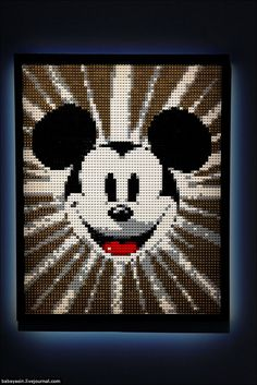 Mickey MouseTea's note: this is how the original mickey mouse club would begin on TV each day with this image--waaaay back in the :) Hama Disney, Disney Stich, Hama Beads, Perler Bead Art, Mickey Mouse And Friends, Mickey Minnie Mouse, Beaded Cross Stitch, Cross Stitch Patterns, Disney Crafts