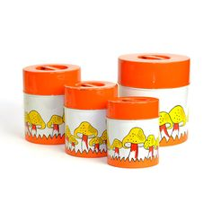 Mushroom Tin Can Canisters  SET OF 4 Nesting by OneRustyNail, $26.95