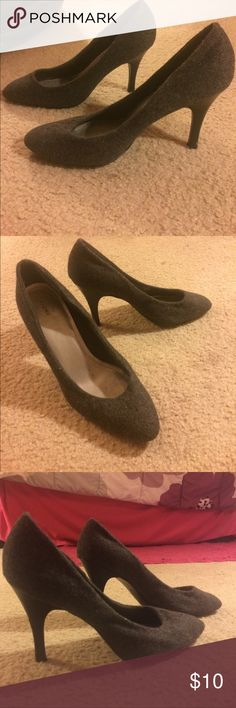 Gray Pointed Toe Pumps These pumps are adorable and have only been worn a few times. They have a fuzzy fabric feel on the outside and are actually super comfy. The heel height is 3 inches. These can easily be worn dressed up or dressed down! FIONI Clothing Shoes Heels