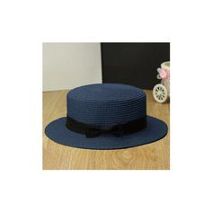 Women Ladies Fedora Hat Trilby Bowknot Straw Panama Summer Jazz Beach... ($5.91) ❤ liked on Polyvore featuring accessories, hats, navy, trilby hats, summer fedora hat, straw beach hat, summer beach hats and travel hat