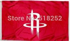 Houston Rockets: Red Background White Logo Flag; 3'x5'