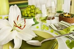 Fresh white and green table setting