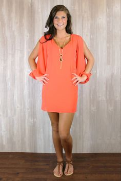 Open Sleeve Shift Dress $43.80 Uoionline.com #Coral #Dress #Spring