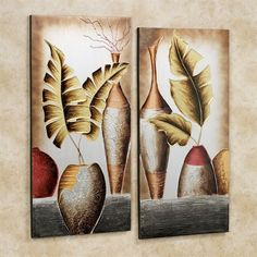 Grecian Pottery Canvas Set Multi Metallic Set of Two