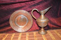 """Vintage Antique Copper Pitcher Vase w/ Handle 11 3/4"""" & Plate 11"""""""