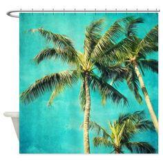 Palmen Duschvorhang tropischen Aqua von VintageChicImages auf Etsy