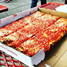 The Sicilian Pizza at L&B Spumoni Gardens in Brooklyn NY