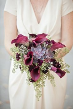 The striking contrast of greens and plums. Floral & Decor: KehoeDesigns.com, Photography: Christina G, Planning: Estera Events