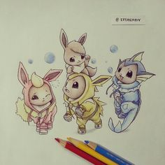 This Instagram account has the cutest drawings of Pokemon wearing onesies of their evolved forms.