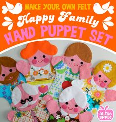 Retro Happy Family Felt Hand Puppet Printable Pattern - PDF with Templates by aliceapple on Etsy https://www.etsy.com/listing/466605846/retro-happy-family-felt-hand-puppet