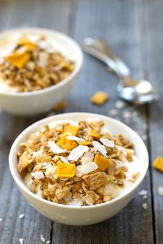 This healthy tropical granola recipe is full of fruit flavor and sweet, crunchy whole grains. It's delicious for breakfast or a snack, and it tastes great with yogurt. You've gotta try this!