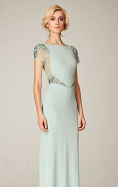 Embellished Short Sleeved Gown by Mignon VM1289B