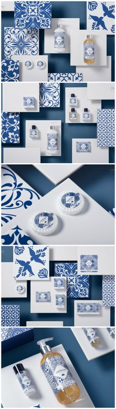 Portuguese tiles give life to the new collection of Luxury Amenities Design Agency: M&A Creative Agency Brand / Project Name: Saudade by Lousani Location: Portugal Category: #Health #Beauty #Cosmetics #Amenities  World Brand & Packaging design Society