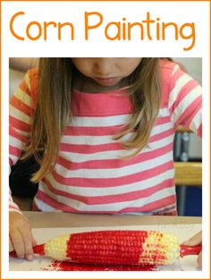 Corn painting during a preschool farm theme