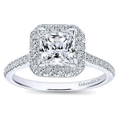 14k White Gold Diamond Princess Cut Halo Engagement Ring with French Pave Shank angle 5