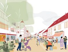 Centrumvisie Bladel: naar een veerkrachtige dorpskern | Urhahn Collage Illustration, Digital Illustration, Urban Design Diagram, Archi Design, Architecture Collage, Alleyway, Presentation, Sidewalk, Landscape