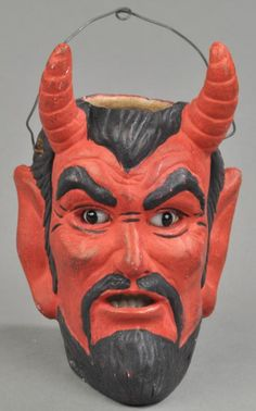 "With Glass Eyes and Glass Teeth: ""Krampus/ Devil"" Head Lantern. Retro Halloween, Halloween Items, Halloween Season, Halloween Candy, Holidays Halloween, Halloween Decorations, Paper Mache Clay, Paper Mache Sculpture, Very Scary"