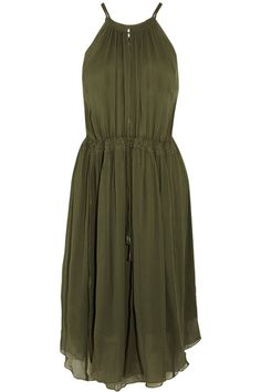 Olive-green silk-crepon Concealed hook fastenings along front 100% silk; lining: 100% rayon Dry clean