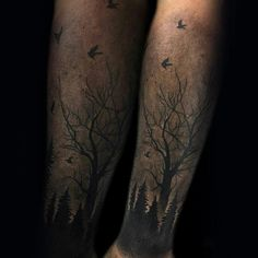 Birds Flying Over Trees Mens Forearm Tattoo