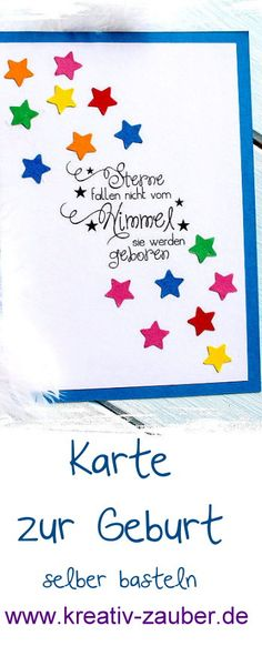 Karte zur Geburt stempeln und basteln - Sterne fallen nicht vom Himmel sie werden geboren - www.kreativzauber.de