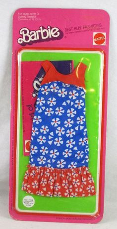 Vintage Barbie Doll Best Buy Fashions #2219 1975 Blue Floral Dress outfit HTF