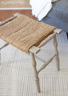 NOTE:  could do this to the bar stools.  --Rope Covered Stool - could staple-gun the rope onto the bottom.