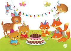 IOSSA FEDERICA   Leaf Illustration Cute Animal Illustration, Cute Animal Drawings, Illustration Art, Baby Girl Birthday, Happy Birthday, Birthday Wishes, Funny Koala, Baby Park, Cute Animal Videos