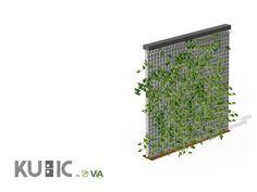 Mobilier urbain végétalisé  - La barrière de ville KUBIC sécurise, guide les usagers et sépare les espaces piétonniers des véhicules. Cette barrière en matériaux composites est végétalisée et peut donc accueillir des plantes grimpantes. Le caillebotis en composite, qui sert de treillage, peut être vert ou gris.