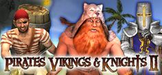 Pirates, Vikings, and Knights II pits three teams against each other in a struggle for wealth, power and total domination. Whether using the Gunpowder Keg to clear out a territory full of enemies, or the Javelin to pin your dead foes to a wall, you'll find this game both hilarious and exhilarating.