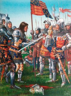 The Battle of Poitiers was a major battle of the Hundred Years' War between England and France - it was the second of the three great English victories of the war. On the picture - the Black Prince, commander of English army.