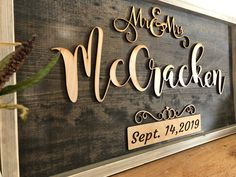 Excited to share the latest addition to my #etsy shop: Mr and Mrs Sign - Family Name Custom Sign - Personalized Last Name Sign - Marriage Signs - Married Established Wood Laser Cut Sign #wedding #customweddinggift #mrandmrssign