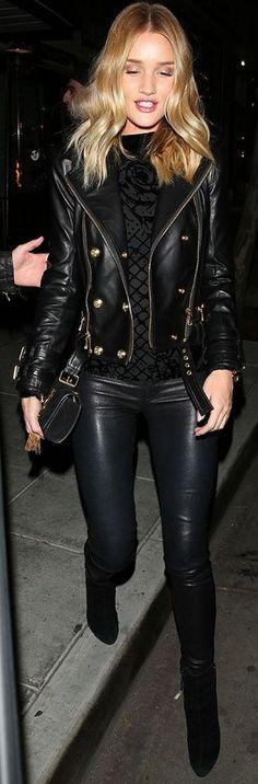Who What Wear - Rosie Huntington-whiteley Balmain & H M Biker Jacket Celebrity Style Inspo