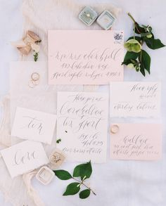 Blush calligraphy wedding paper suite: http://www.stylemepretty.com/2016/09/08/wedding-details-guests-notice/ Photography: Sawyer Baird - http://www.sawyerbaird.com/