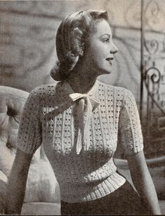 Forever in Style - Beauty and Fashion through the centuries Vintage Crochet Patterns, Vintage Knitting, Vintage Vogue, Vintage Glamour, 1940s Fashion, Vintage Fashion, Beginner Knitting Patterns, Look Retro, Pin Up