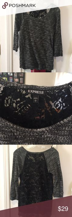Express 3/4 length sweatshirt. Complete lace back Super fun Express 3/4 length sweatshirt. Back is completely lace. No signs of wear. Express Tops Sweatshirts & Hoodies