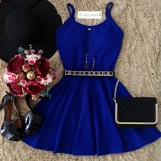 Vestido Alcinha Rodado  Juliana  no Jacard C/ BOJO ( COR AZUL BIC) Dress Outfits, Casual Dresses, Short Dresses, Casual Outfits, Cute Outfits, Formal Dresses, Pretty Dresses, Beautiful Dresses, Dress Skirt