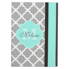 Gray Aqua Girly Cute Monogram Quatrefoil Pattern iPad Air Case