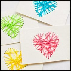 St. Valentine's Day String Yarn Heart Cards