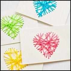 St. Valentine's Day String Yarn Heart Cards