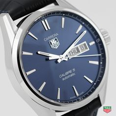 Already considered as an essential in its black, silver or white version, the TAG Heuer Carrera Calibre 5 Day-Date now comes with a deep blue dial. A refined Day-Date model you can choose from a fine-brushed steel bracelet or an elegant alligator strap. Available from May 2015. http://tag.hr/baselworld