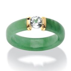 Yellow Gold Genuine Green Jade and Round Genuine Topaz Ring Palm Beach Jewelry PalmBeach TCW White Topaz and Jade Ring in Gold Naturalist (Size Women's, Green (linen) Jade Jewelry, Jewelry Rings, Jewelry Accessories, Silver Jewelry, Jewellery Earrings, Trendy Jewelry, Jewelry Shop, Handmade Jewelry, 10k Gold Ring