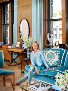 Big, Bold and Beautiful Trimming (Drapery, Table Skirts and Upholstery Never Looked So Good) ((Beautiful Trimming Applied to Sofa and Drapery in Tory Burch's New York Office - Elegant)) New York Office, Home Office, Office Chic, Office Spaces, Urban Deco, Interior Inspiration, Design Inspiration, Beautiful Interiors, Chinoiserie
