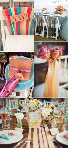 Ideas para decorar la boda con cintas de colores