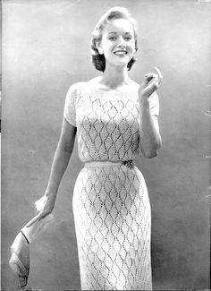 1950's Vintage Knit Dress Pattern  Bernat No. 1541