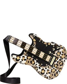 Guitar Crossbody Leopard by Betsey Johnson Unique Purses, Unique Bags, Guitar Bag, Novelty Bags, Designer Wallets, Designer Handbags, Betsey Johnson Purses, Cute Bags, Leather