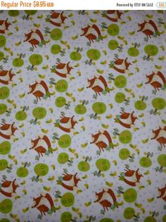 50% OFF SALE Flannel Fabric, Cotton Fabric, Quilt Fabric, Cute Foxes,,David Textiles, Fast Shipping