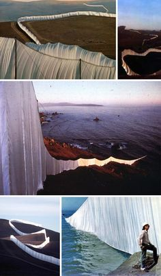 Running Fence -Installation Art project by Christo. 24 1/2-mile, 18-foot high, white nylon curtain that zigzagged over the Sonoma County hills before plunging into the ocean at the Marin-Sonoma county line.