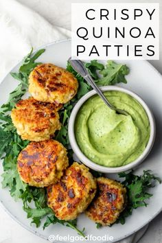 When you're looking for ways to use leftover quinoa, try these easy tasty vegeta. When you're looking for ways to use leftover quinoa, try these easy tasty vegetarian quinoa patties, served with an avocado yogurt dip - perfect appetizer! Quinoa Recipes Easy, High Protein Vegetarian Recipes, Healthy Snacks, Vegan Recipes, Healthy Eating, Cooking Recipes, Vegetarian Food, Vegetarian Appetizers, Quinoa Dinner Recipes
