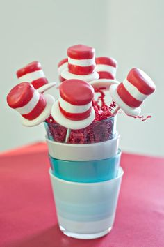 Cat in the Hat cake pops. I wonder if I could cheat and just make marshmallow pops dipped in something red and edible? Red Chocolate, Melting Chocolate, Chocolate Covered, Cake Pops, Dr Seuss Birthday Party, Birthday Ideas, Birthday Cakes, 2nd Birthday, Marshmallow Treats